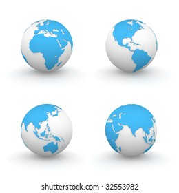 four views of a blue 3D globes - continents embossed