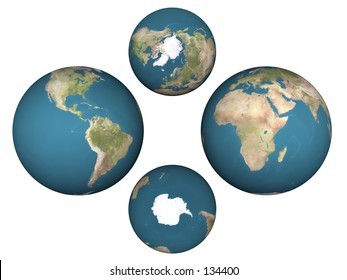 Four views of the Earth showing all hemispheres. Computer generated 3D image.