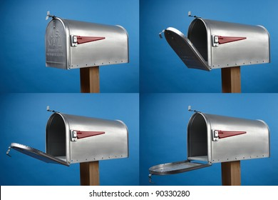 Four views of an opened mailbox with space for copy