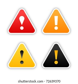 Four warning stickers with exclamation mark sign and drop shadow on white. Bitmap copy my vector ID: 71452765