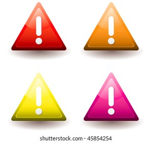 Four warning triangles with drop shadow and exclamation mark