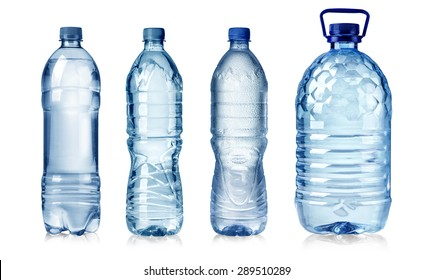 four water bottles isolated on white background