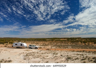 Four Wheel Drive and off road Caravan near Mount Magnet in the outback of Western Australia.