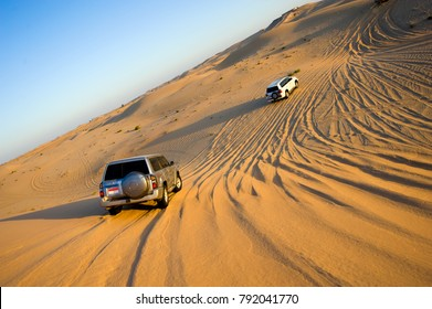 Four wheel drive through the desert in the United Arab Emirates.