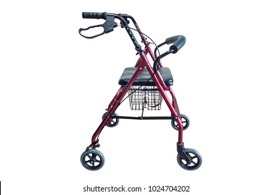 Four wheel walker rollator with hand brakes and fold up back support isolated on white background ( with cliping path )