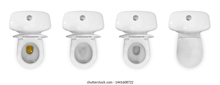 Four white ceramic toilets. The view from the top. Yellow urine. Flush the toilet. Closed and opened the lids. Close up. Isolated on white background.