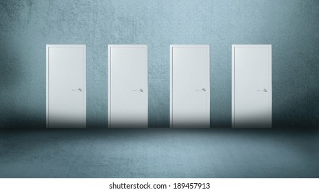 Four white closed doors on gray background