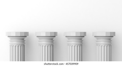 Four white marble pillars podium on white background. 3d illustration
