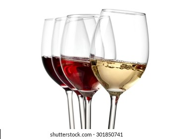 Four wine glasses with bubbles