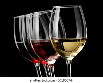 Four wine glasses on black background
