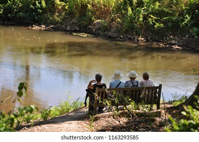 four women sitting on park bench and Looking on lake