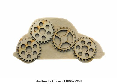 four wooden gears sign in car symbol on white  background.