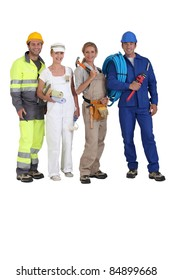 Four workers in different trades