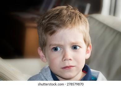 Four year old child kid fear portrait