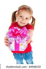 Four years old girl wih the present on white