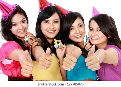 four young beautiful woman celebrate birthday isolated over white background