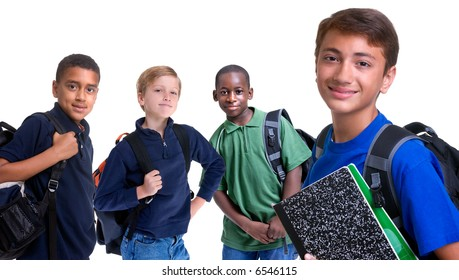 Four young boys are ready for school. Education, family, learning, diversity,