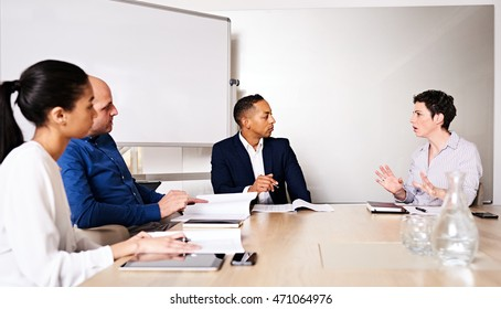 four young diverse business partners conducting a meeting in the board room of their new offices at the new conference table, with the mature caucasian female busy explaining her reasoning