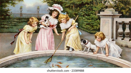 Four young girls playing by a pool of goldfish in a beautiful garden estate - a Victorian greeting card illustration, circa 1880