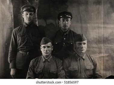 four young man is in an army form