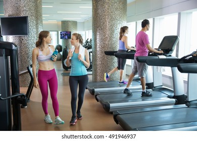 Four young people relaxing and training in gym