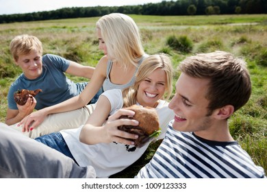 Four young persons sitting in grass