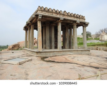 Four-armed monolithic granite statue of Lord Ganesha is installed in this Sasivekalu Ganesha temple. It is 2.4Mtrs in height and it is located in Hampi, Karnataka, India