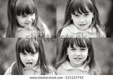 Four-in-one black and white picture of grimacing little girl