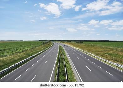 Four-lane motorway leads across the country at Lake Balaton