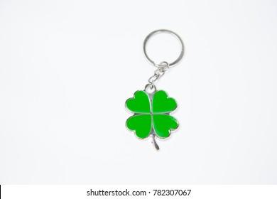 four-leaf clover green key chain