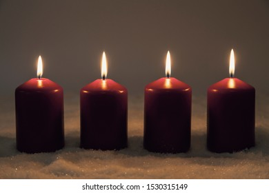 Fourth advent with four burning candles