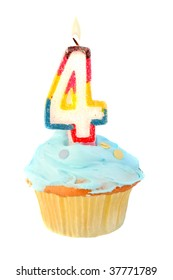 fourth birthday cupcake with blue frosting on a white background