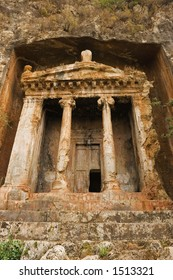 The fourth century BC tomb of Amyntas, Fethiye, ancient Telmessos, Turkey. He was probably a local king.