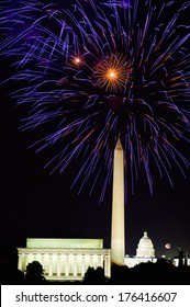 Fourth of July celebration with fireworks exploding over the Lincoln Memorial, Washington Monument and U.S. Capitol, Washington D.C.