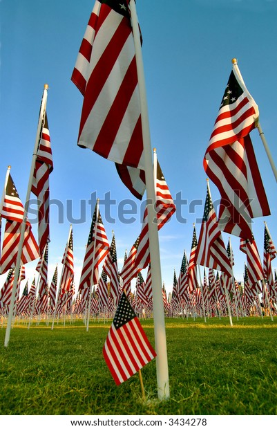 fourth of july display of american flags