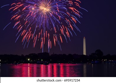 Fourth of July fireworks on the National Park tidal basin, with the Washington Monument in Washington, District of Columbia