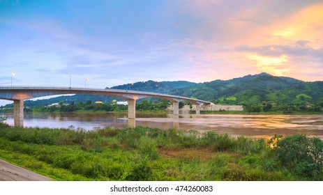 The fourth Thai-Lao friendship bridge across the Mekong River Chiang Khong and Houay Xay city