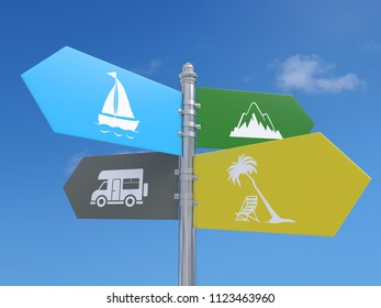 Four-way metal signpost with summer holiday destination idea over blue sky