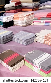 fouta beach towel for sale on outdoor street market shop