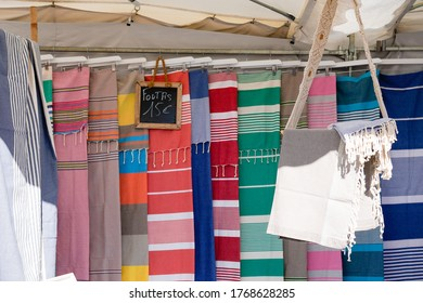 foutas beach towel for sale on colorful store fouta in outdoor market