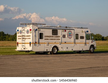 Fowlerville, Michigan - July 13, 2019 Livingston County Mobile Command Vehicle parked at Livingston County Spencer J Hardy airport