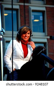 Fox 25 Boston news reporter Maria Stephanos at an event in City Hall, Boston.