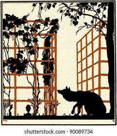 Fox is considering a bush vine, illustration Yegor Narbut, the book Fables by Ivan Krylov, publisher Joseph Knebel, Moscow, Russia, 1912