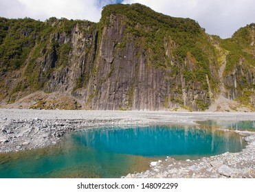 Fox Glacier in Westland National Park on the West Coast of New Zealand's South Island - glacial landscape with temperate rainforest