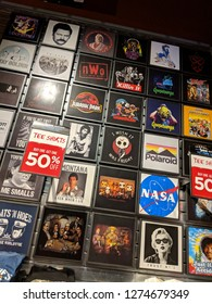 Fox Hills, Culver City, California -  October 25, 2018:  T-Shirts featuring Goosebumps, Jurassic Park, NASA, nWo, Ric Flair, Friends, Super Mario Kart for Sell at Spencer's Inside Westfield mall
