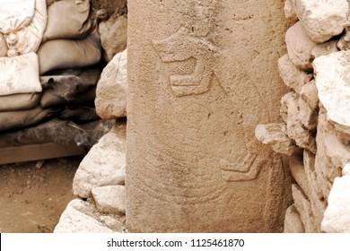 Fox stone in GobekliTepe. Ancient Site of Gobekli Tepe in SanliUrfa, Turkey (Göbeklitepe The Oldest Temple of the World. Gobekli Tepe is a UNESCO World Heritage site.)