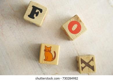 Fox Word Written in wooden cube. White wooden table. Fox cube. Soft daylight