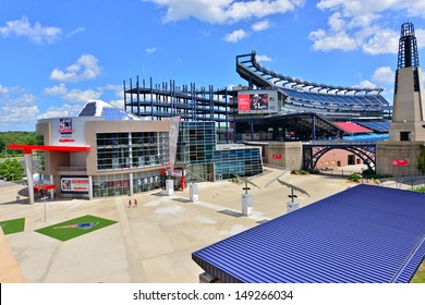 FOXBORO, MA - JULY 5: Gillette Stadium, home of the New England Patriots on July 5th, 2013. It is located 21 miles southwest of Boston and 20 miles from Providence, Rhode Island. It can sit 68756.