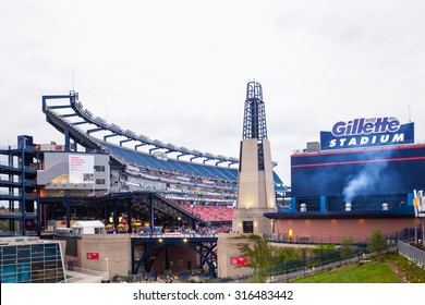 FOXBORO, MASSACHUSETTS - SEPTEMBER 12, 2015:  View of Gillette Stadium, home of the New England Patriots, prior to  the One Direction concert.