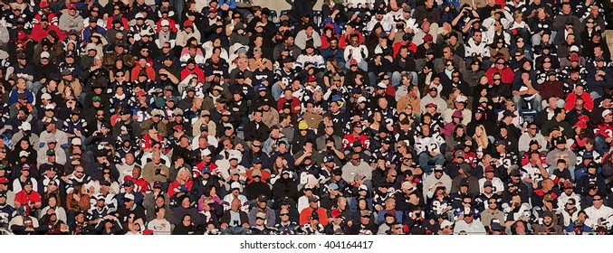 FOXBOROUGH, BOSTON MASS - OCTOBER 16, 2011: Blurred Crowd shot at Gillette Stadium, the NFL Super Bowl Champs New England Patriots play the Dallas Cowboys